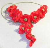 Collana con fiori di raso   7.8