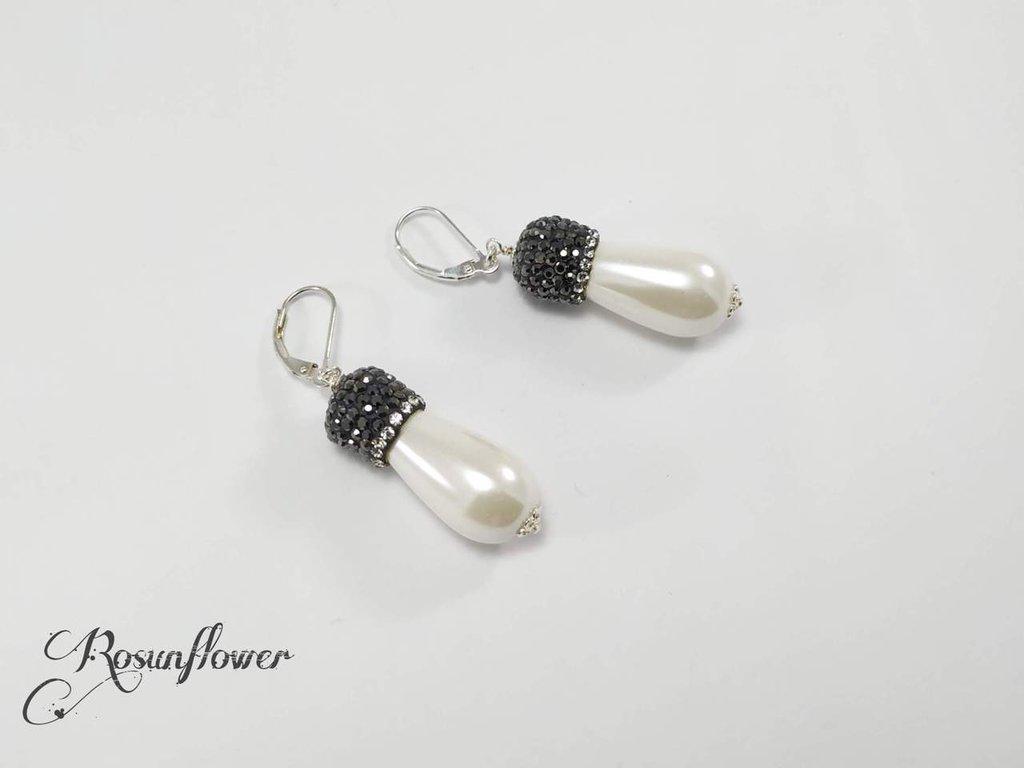 Orecchini con grandi perle di maiorca bianca argento 925,  orecchini vintage , regalo per lei