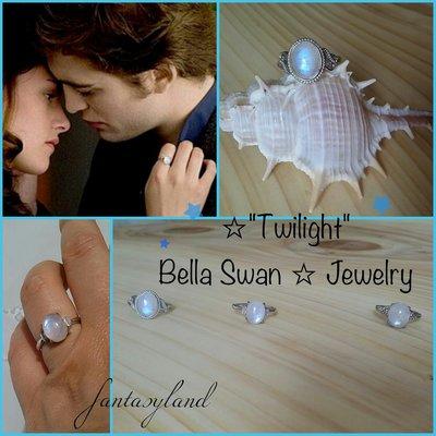 Anello pietra di luna argento bella swan twilight vampiri regalo regolabile