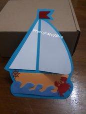 Invito barca,invito per compleanno battesimo tema mare ancora timone,barca a vela partecipazione,invito personalizzato tema marino,invito 3D