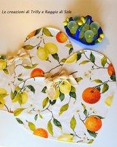 Tovagliette a cuore fatte a mano, in cotone con limoni e arance