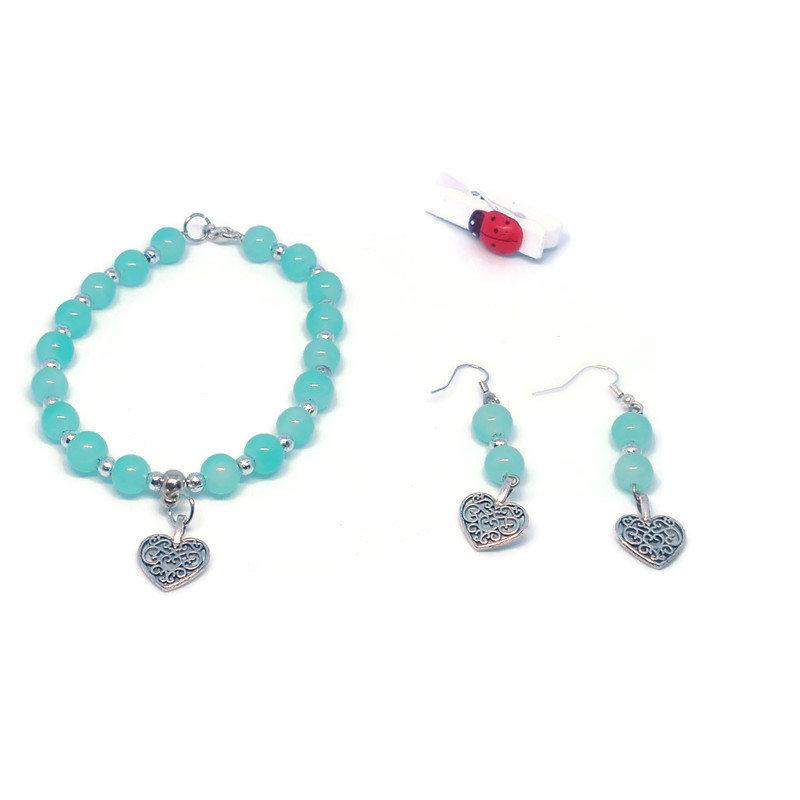 set bracciale ed orecchini di perle con ciondolo