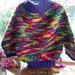 Maglione o poncho in lana, lavorato con i ferri, fatto a mano