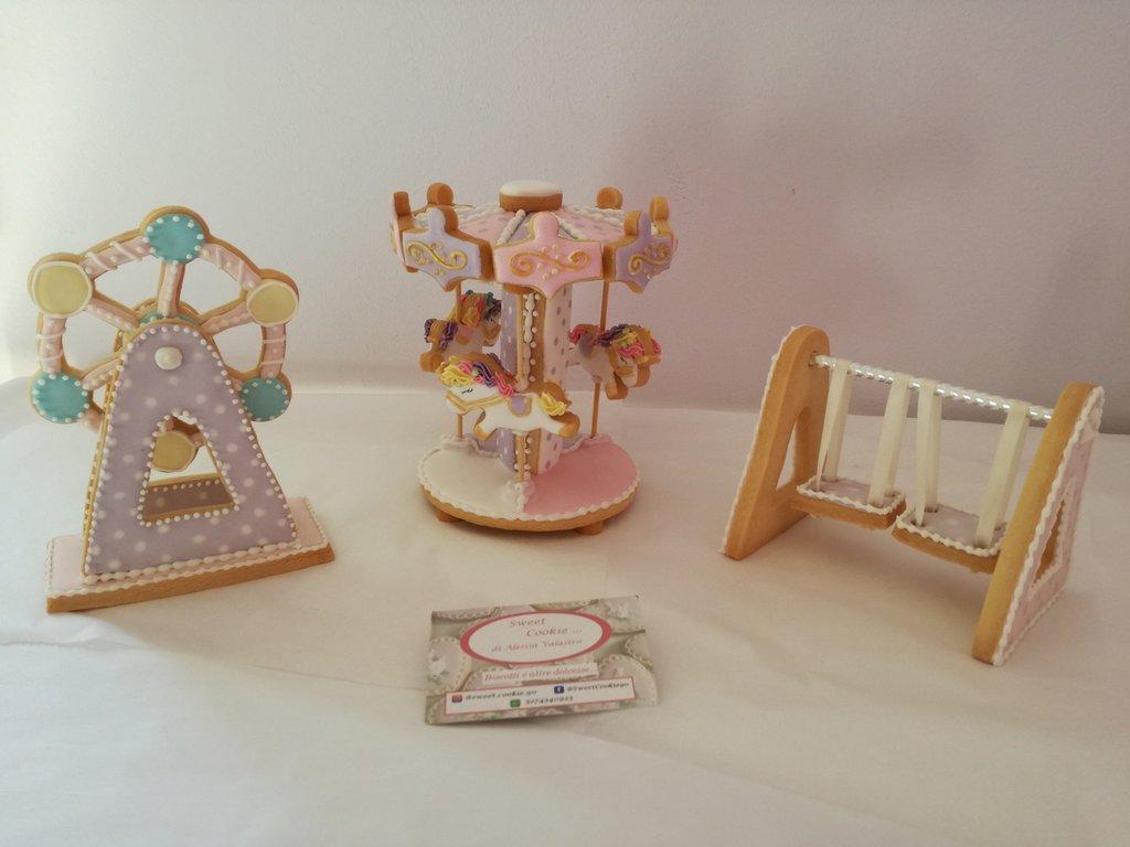 Topper cake giostra unicorno biscotto 3d sweet table bambina bambino festa compleanno nascita Altalena di biscotto ruota panoramica di biscotto parco luna park