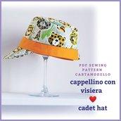 Cartamodello pdf cappellino con visiera unisex bambino e donna