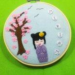 Quadretto Kokeshi e fiori di ciliegio