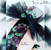 Fascia nera capelli  elegante in tulle e paillettes