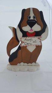 Fermaporta cane in legno dipinto a mano