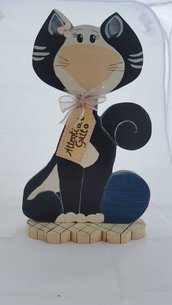 Fermaporta gatto in legno dipinto a mano