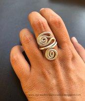 Anello wire argentato con doppia spirale regolabile: gioielli wire, anelli wire spirale, gioielli alluminio, anello alluminio wire argento
