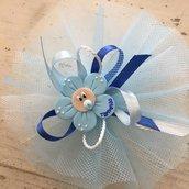 Bomboniera in tulle decorata con Fiore realizzato a mano in pasta Fimo