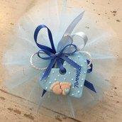 Bomboniera in tulle decorata con cuore realizzato a mano in pasta Fimo