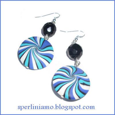 Orecchini Blue Swirl tondo