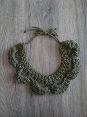 Collana di corda in cotone verde oliva