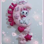 Fiocco di nascita luna, stelle e cuori con il personaggio della gattina Minou