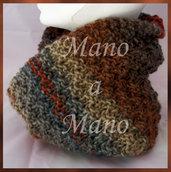 Scaldacollo incrociato - Marrone, ruggine, grigio e azzurro