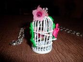 Collana con gabbietta uccellini in acciaio
