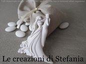 Lotto di 12 sacchetti in cotone con calamita in polvere di ceramica a forma di sposi