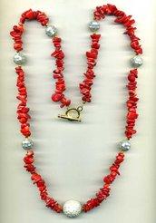 COLLANA in chips di corallo bambù rosso e madreperla a mosaico