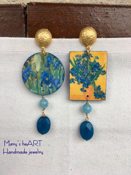 Orecchini pendenti Iris di Van Gogh in legno e pietre dure