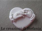 Lotto di 12 calamite in polvere di ceramica a forma di cuore con scambio anelli