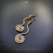 Orecchini wire Alluminio Argento pendenti lunghi con spirale: gioielli alluminio, orecchini wire, anello argento, spirale orecchini, spirale