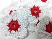 7 fiori a uncinetto per applicazioni, fiori a uncinetto 6 petali.