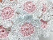 10 fiori a uncinetto per applicazioni, fiori a uncinetto 8 petali.