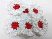 6 fiori a uncinetto per applicazioni, fiori a uncinetto 9 petali.