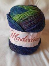 Silke - Madesimo, filato in lana, alpaca ed acrilico blu viola e verde