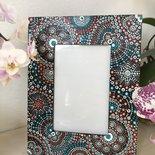 Cornice portafoto in legno dipinta a mano con mandala