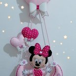 Fiocco nascita bimba con Minnie e frase nel cuore.