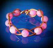 Anello intrecciato in filo di rame e agata rosa