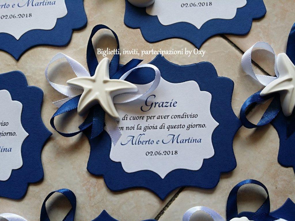 Segnaposto / Blu / mare / conchiglie / Stella marina / cavalluccio marino / Gessetti.