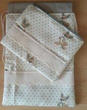 Completo sacchetto primo cambio bebé e portapannolini-trousse tela aida