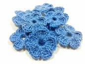 Mini Fiori a uncinetto per applicazioni / Set di 10 fiori  Fiori blu fiordaliso