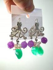 Orecchini polpo grappoletti agata conchiglie perle