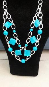 Collana alluminio azzurra  doppia