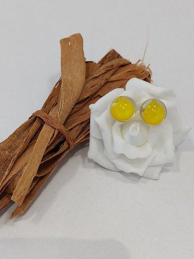 Orecchini lobo donna orecchini bottone orecchini fiori resina ranuncolo giallo fiori di campo