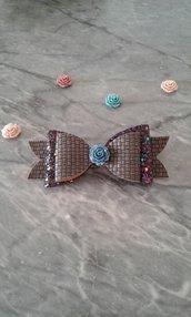 Clip bambina fiocco in Pelle glitter- Alena