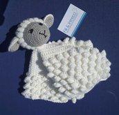 Doudou pecora uncinetto / copertina amica fatta a mano / pecorella amigurumi