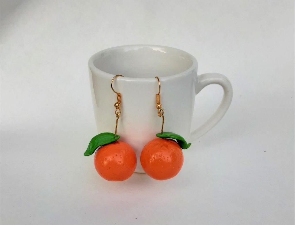 Orecchini arance in fimo fatto a mano