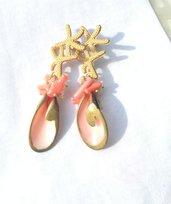 Orecchini conchiglia rosa corallo  perle oro
