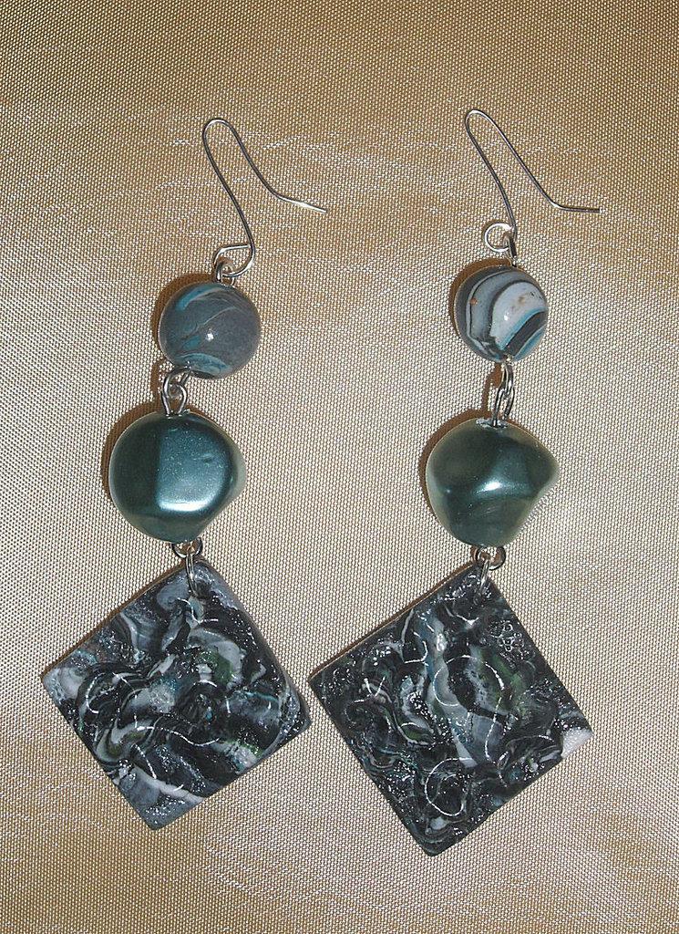 Orecchini in Fimo e Perle Verdi