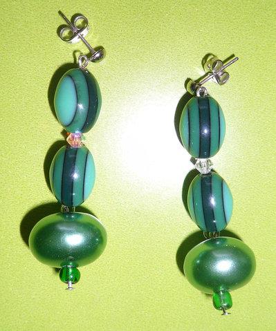 Orecchini di Perle Verdi e Swarovski