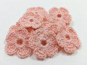 Mini Fiori a uncinetto per applicazioni / Set di 10 fiori  Fiori rosa arancio
