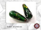 10 Perle Vetro 37 x 14,5 mm- Cono - Verde petrolio (pack: 10 pezzi)