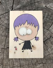 Bimba matta dipinta a mano con occhi in rilievo modellati - misura tavoletta di legno 10x14 cm