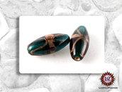 20 Perle vetro ovale Verde Petrolio con avventurina - 30 x 13 mm (pack: 20 pezzi)