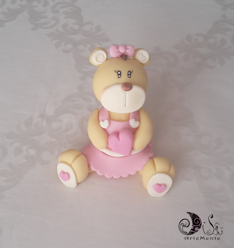cake topper bimba battesimo compleanno Orsetta con vestito e cuore